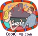 couple playing piano Vector Clipart picture