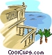 balcony view Vector Clipart graphic