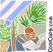 Backyard patio with plants and Vector Clipart illustration