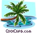 leaning palm tree Vector Clipart illustration