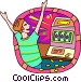 business winning at the slot Vector Clip Art graphic