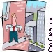 business man on ledge of Vector Clipart graphic