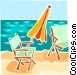Lawn chairs on beach with Vector Clip Art image