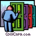 knocking on doors Vector Clip Art image