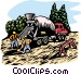 woodcut cement truck Vector Clipart picture