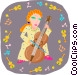 girl playing bass Vector Clipart graphic