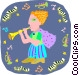 girl playing clarinet Vector Clipart illustration