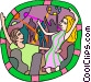 People dancing at the discotheque Vector Clip Art image
