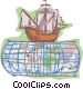 Ship on world map Vector Clip Art picture