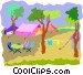 camp ground with tents Vector Clipart picture