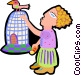 woman with bird on cage Vector Clipart picture
