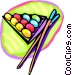 Pool balls and cues Vector Clipart picture