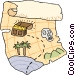 treasure map Vector Clipart illustration