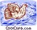 woodcut bird Vector Clip Art image