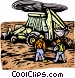 woodcut industry/backhoe Vector Clipart picture