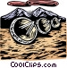 Woodcut satellite dishes Vector Clipart graphic