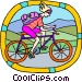 Woman on bicycle Vector Clip Art graphic