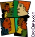multi-racial society Vector Clip Art picture