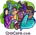 business party with co-workers Vector Clip Art image