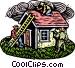 Woodcut house with workmen Vector Clipart illustration