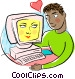 Man loving his computer Vector Clip Art graphic