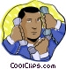 man with multiple phones Vector Clipart graphic