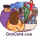 co workers guiding co workers Vector Clip Art picture