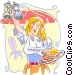 Waitress with Authentic fare Vector Clipart illustration