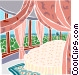 canopied bed with a wall of Vector Clipart illustration