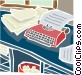 desk with papers and Vector Clipart illustration