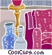 sofa with vases Vector Clipart picture