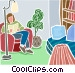 Relaxing with a book in a chair Vector Clip Art image