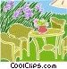 Lawn furniture in the backyard Vector Clip Art picture