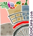 Bicycle loaded with groceries Vector Clipart illustration