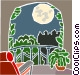 moonlight on a balcony Vector Clipart image