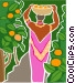 woman harvesting fruit from an Vector Clip Art picture