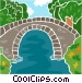 walking bridge over water Vector Clip Art graphic