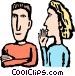 Woman whispering to a co-worker Vector Clip Art picture