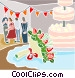 Wedding reception and wedding cake Vector Clipart graphic