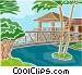 tropical setting with palm Vector Clipart image