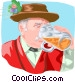 German man drinking mug of Vector Clipart picture