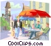Shopper near cafe in European Vector Clipart graphic