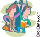 commuters riding the subway Vector Clipart picture