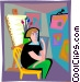 Artist in a gallery Vector Clipart picture