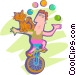 Man juggling riding on a Vector Clipart image