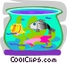 Tropical fish in fish bowl Vector Clip Art picture