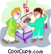 patient being wheeled into Vector Clipart illustration