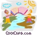 sharing information across borders Vector Clipart graphic