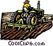 Farmer on tractor Vector Clip Art image