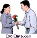 woman receiving flowers from an admirer Vector Clip Art graphic